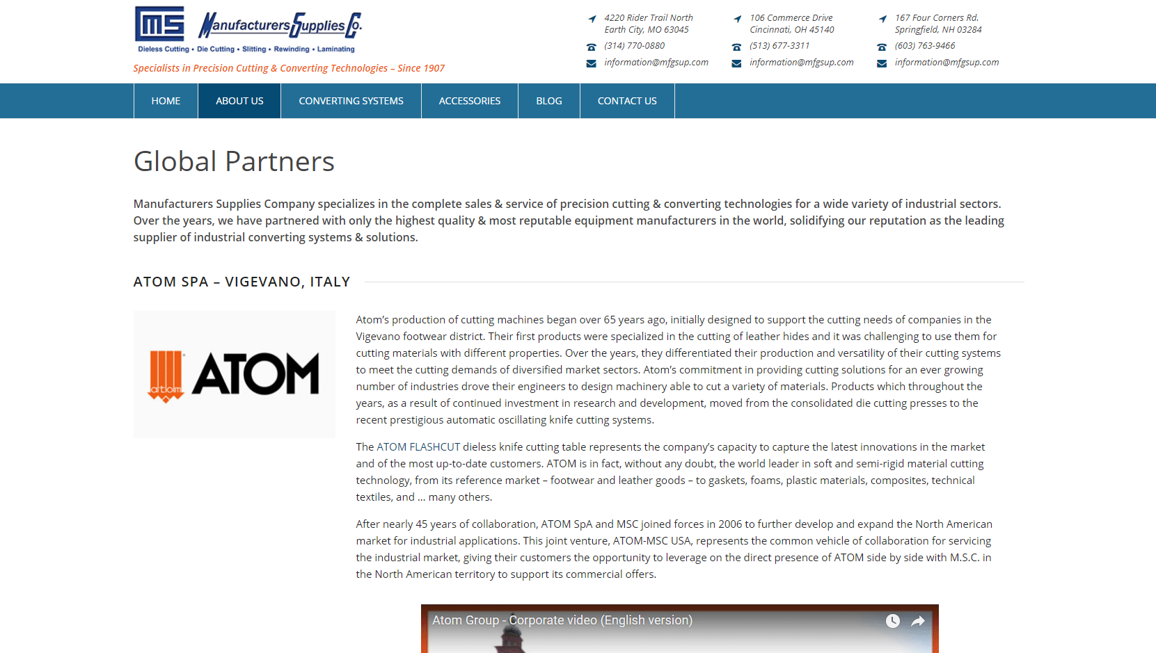 Screenshot of MS' partners page