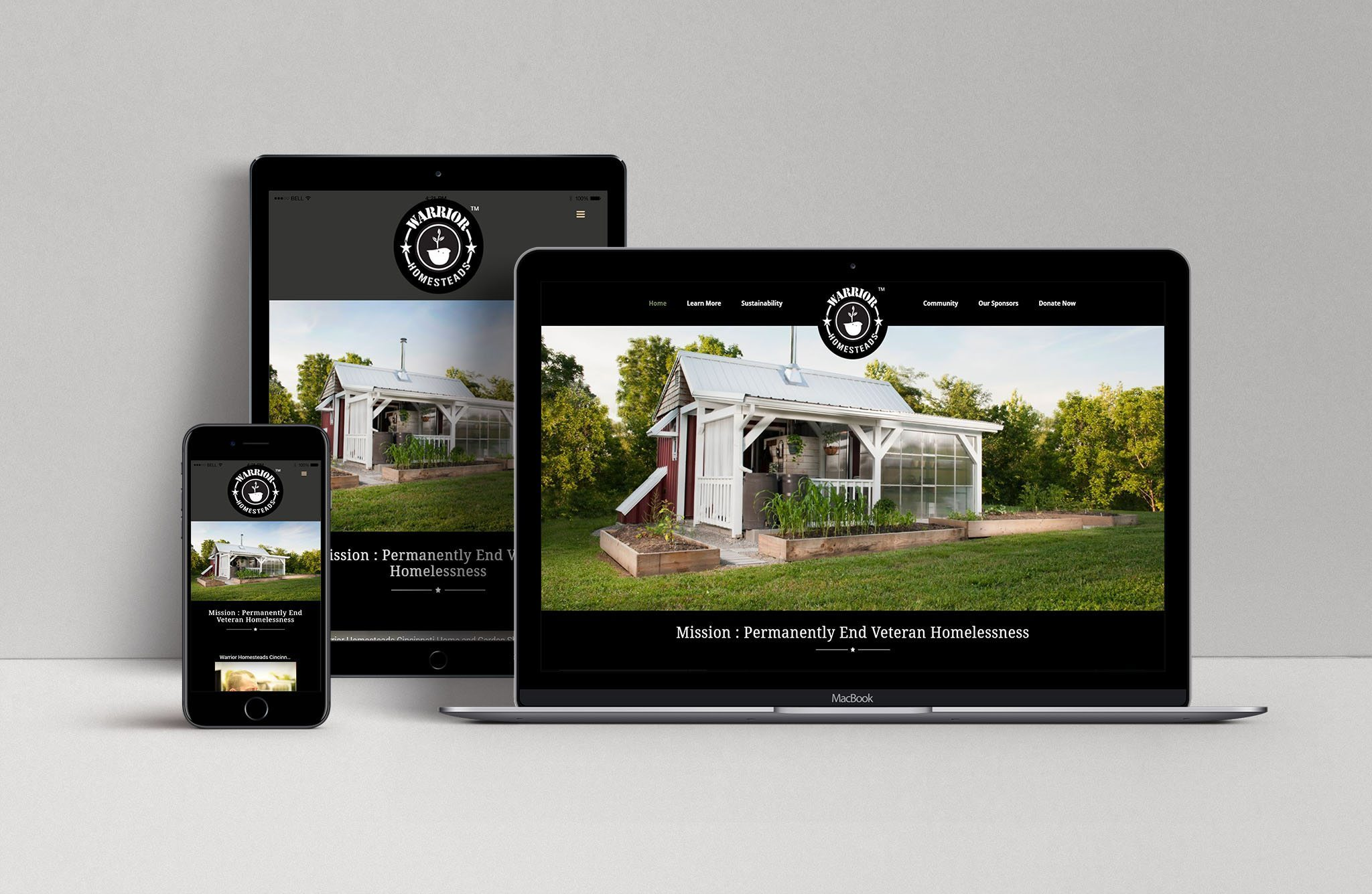 A showcase of the Warrior Homestead site's responsive design