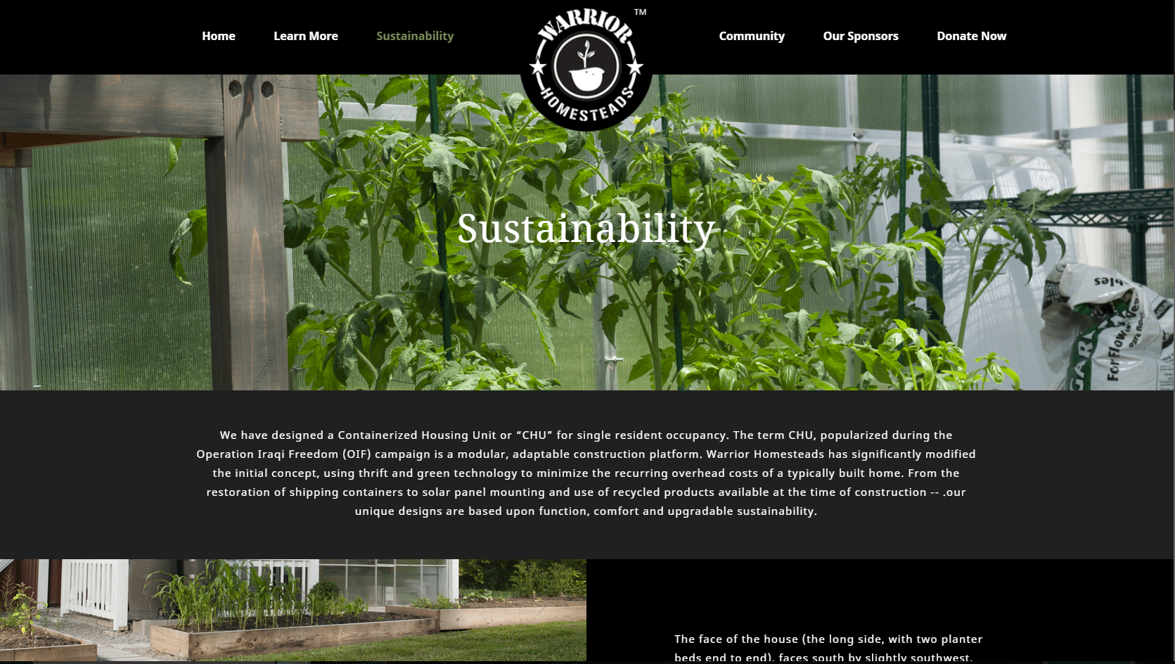Warrior Homesteads' sustainability page