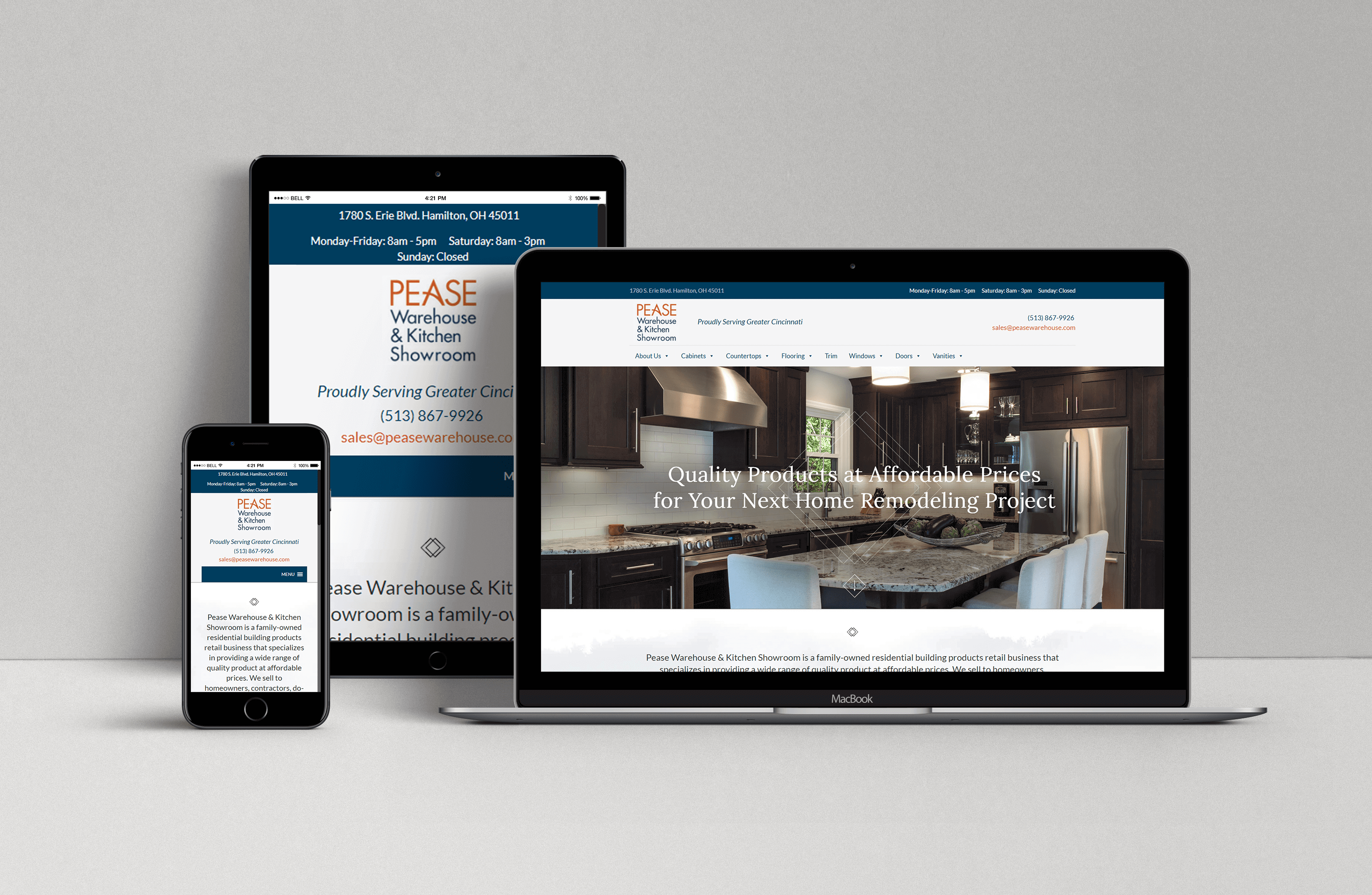 Pease Warehouse New Website Design on Mobile Desktop and Tablet
