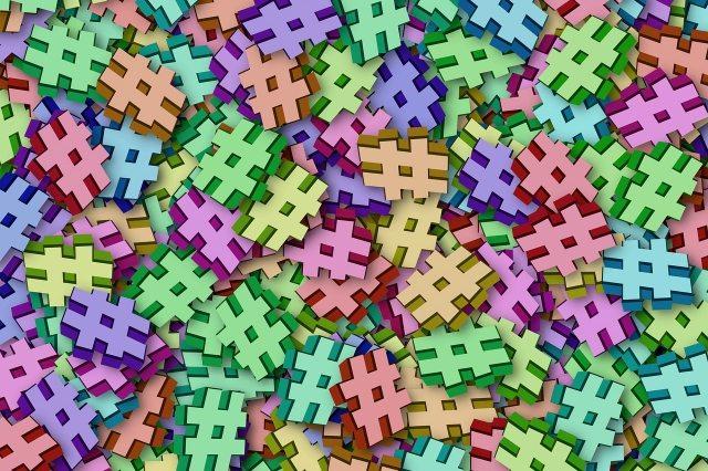 colorful 3D hashtags