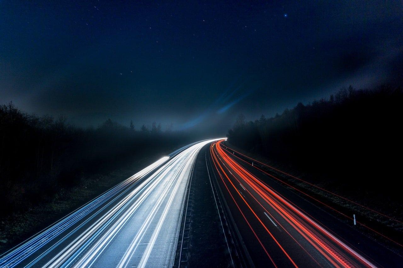 Long exposure shot of cars at night