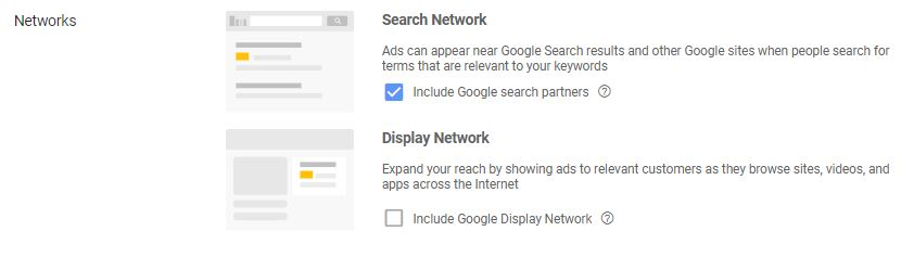 Google Ads Network Targeting Settings