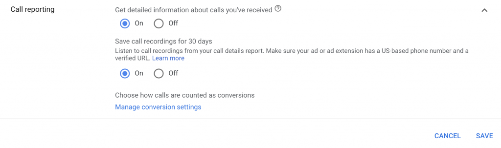 how to enable call tracking in google ads