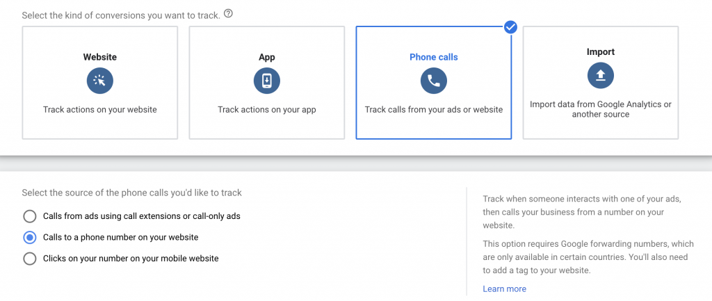 google ads website call tracking