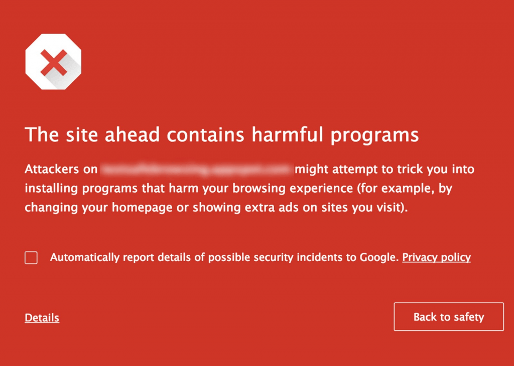 The site ahead contains harmful programs-google notification