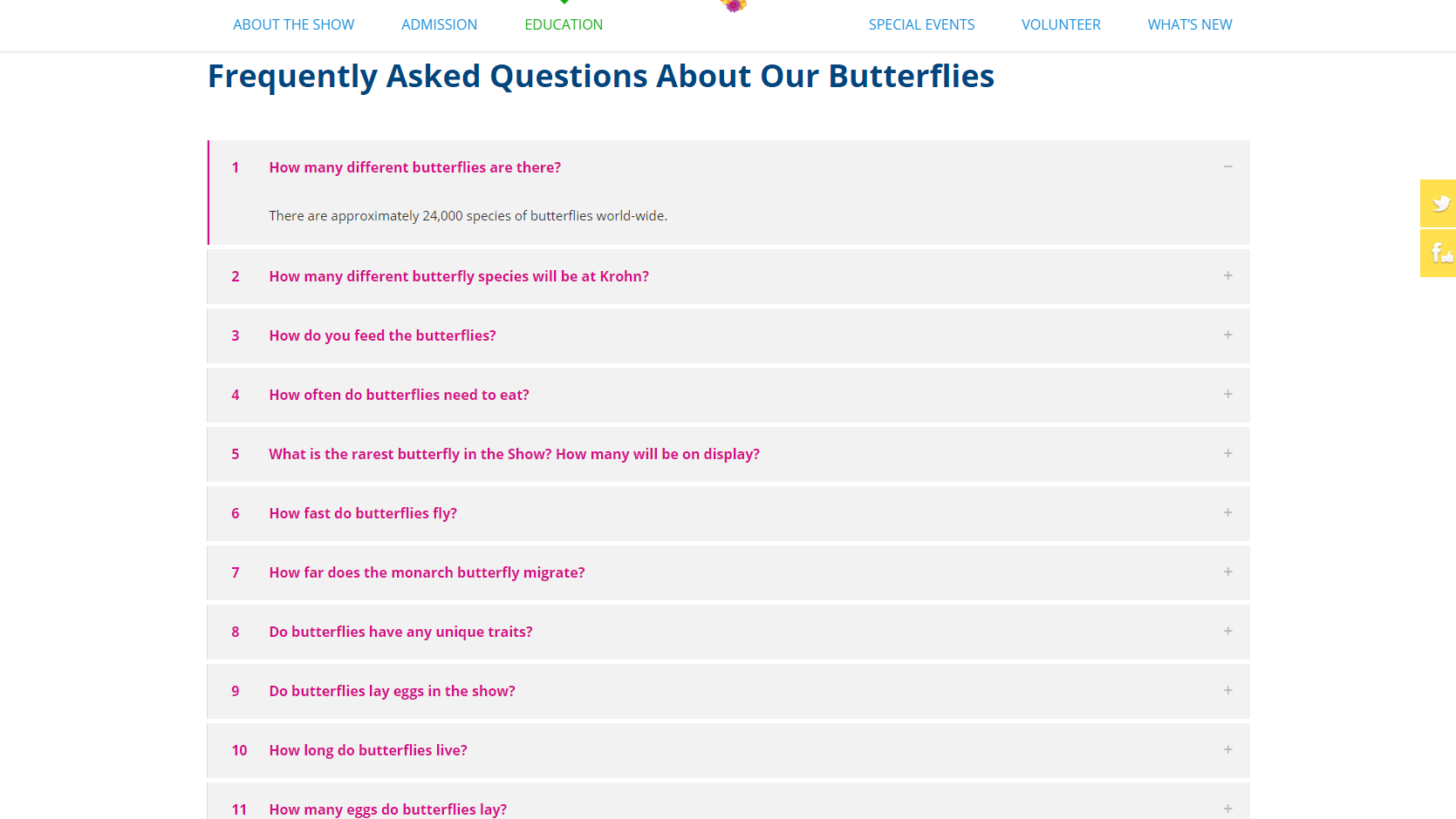Screenshot of BS' FAQs page