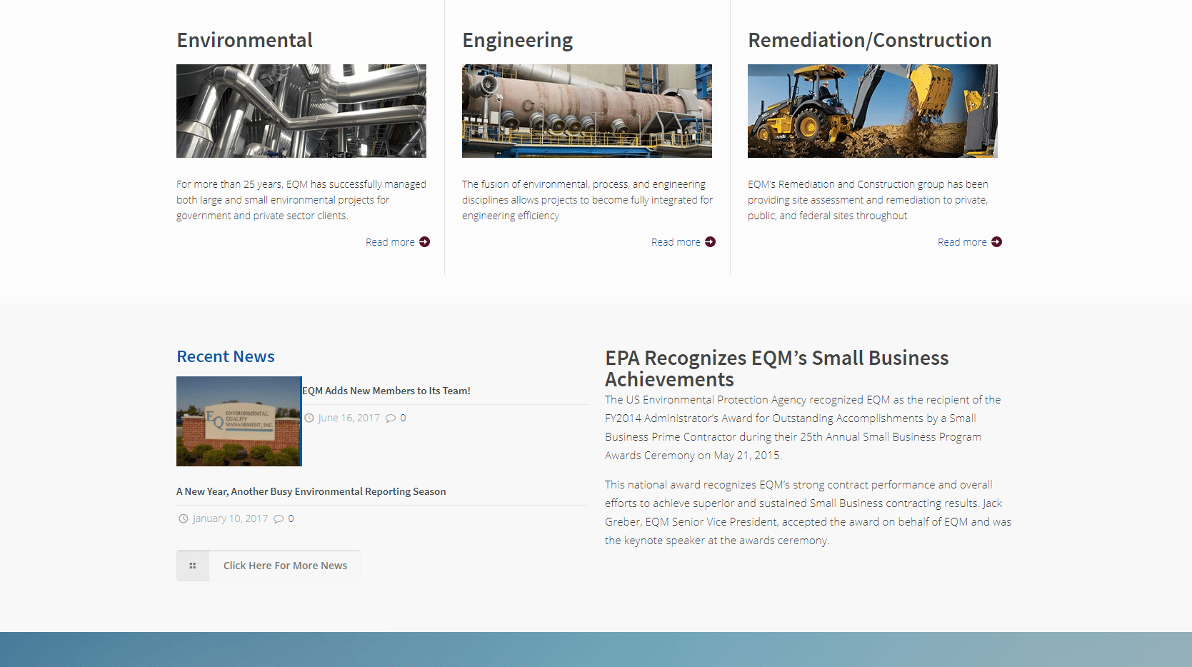 Screenshot of the images on EQM's homepage