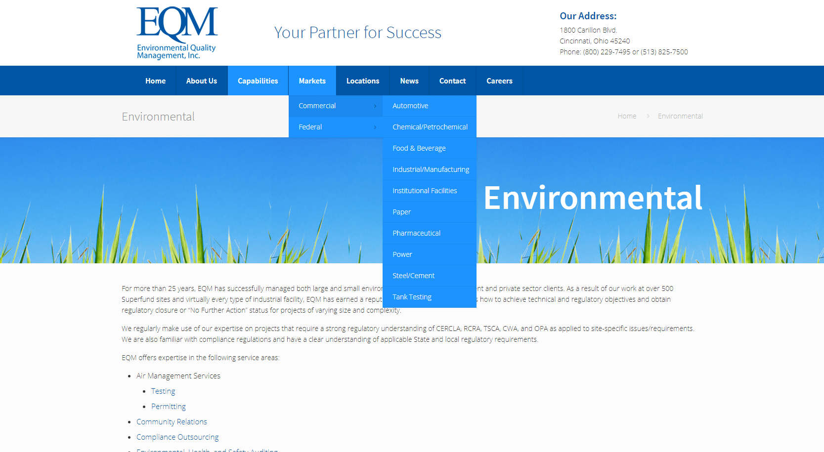 Screenshot of EQM's two-tiered menu
