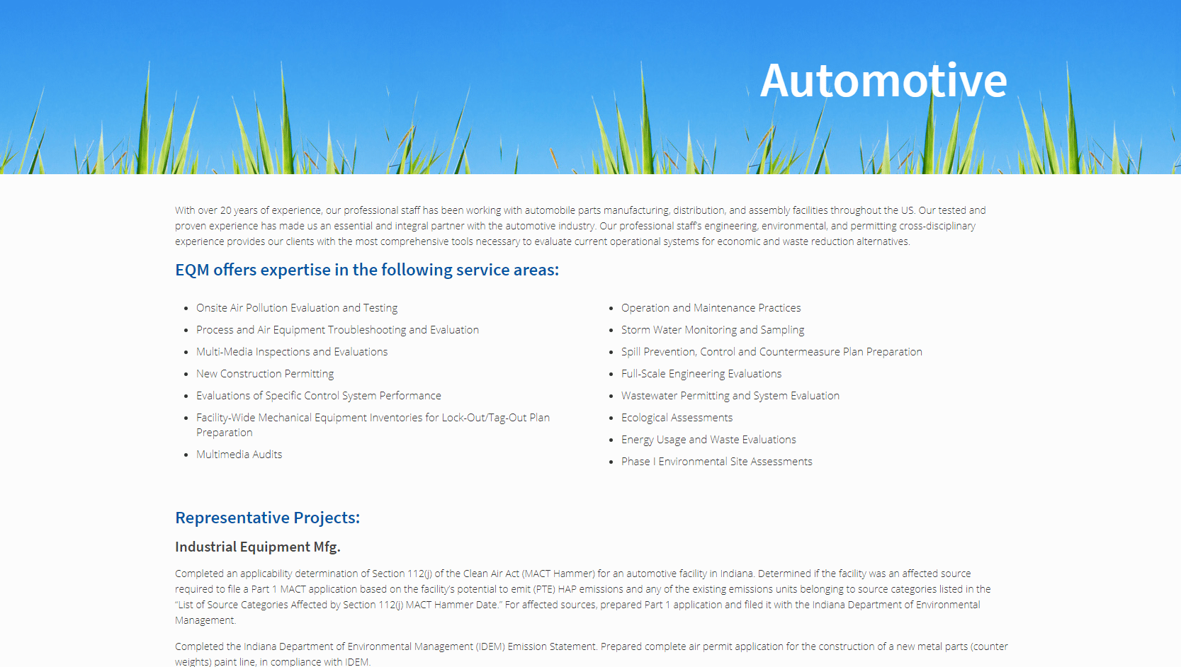 Screenshot of EQM's automotive market page