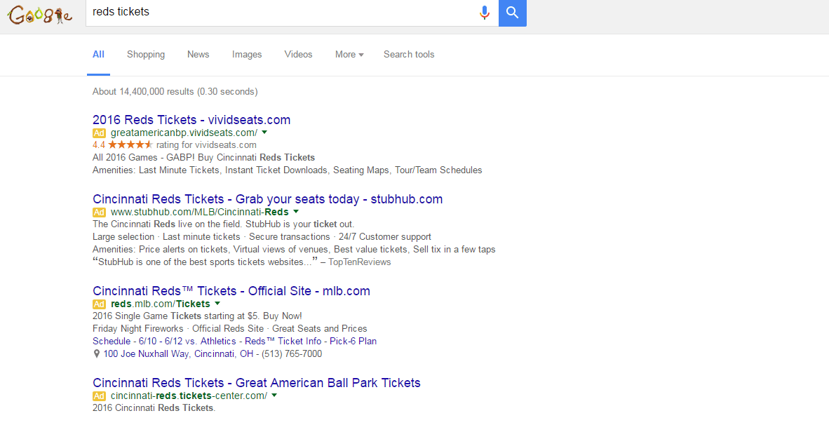 Reds Tickets Google Ads Example