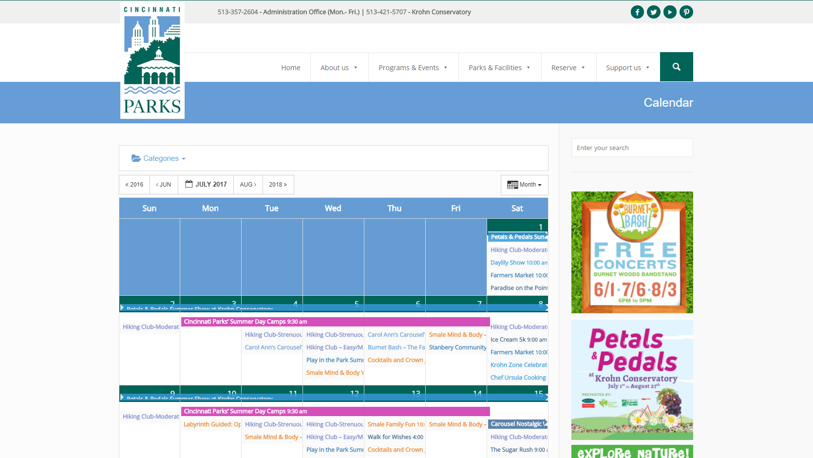 Screenshot of CP's events page