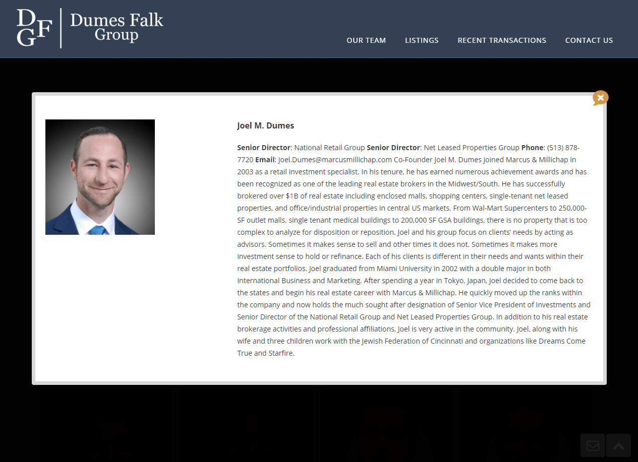 screen shot of Dumes Falk's employee bio page