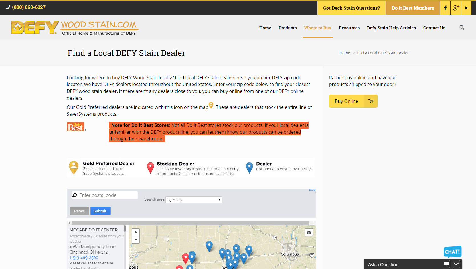 Screenshot of DWS' store locator