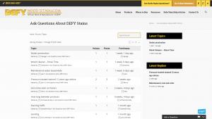 Screenshot of DWS' forum page