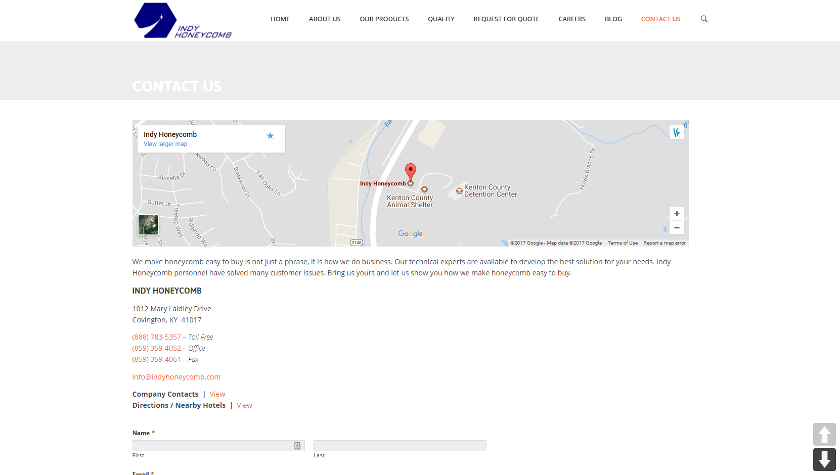 Screenshot of IH's contact page, complete with a map.
