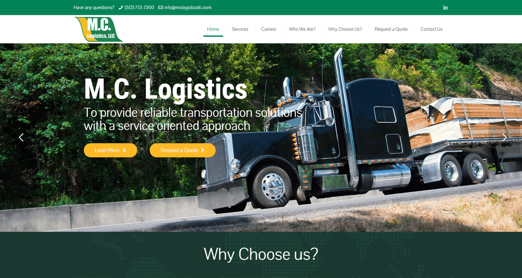 MC Logistics Website Screencap