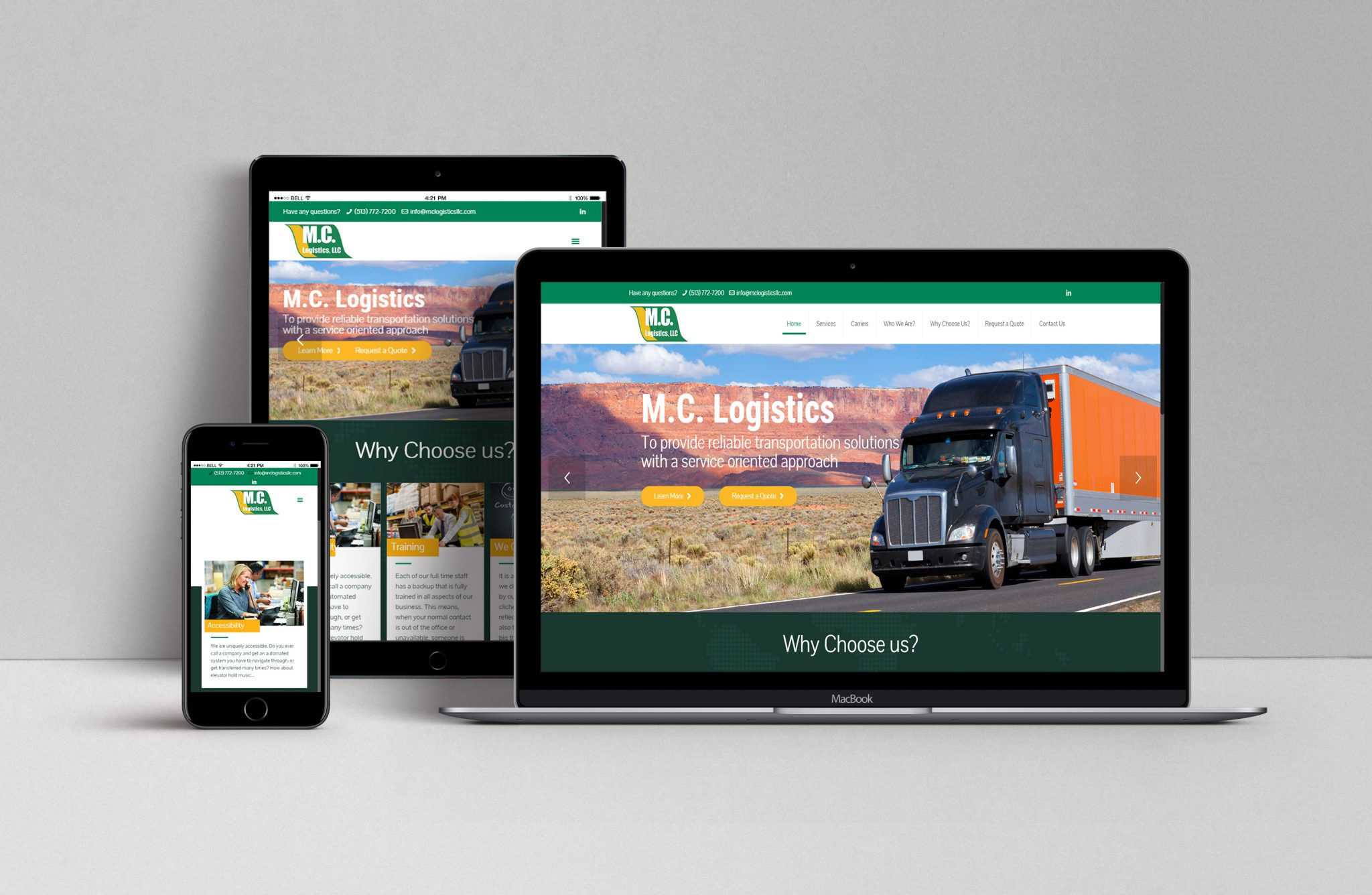 MC Logistics wordpress website design