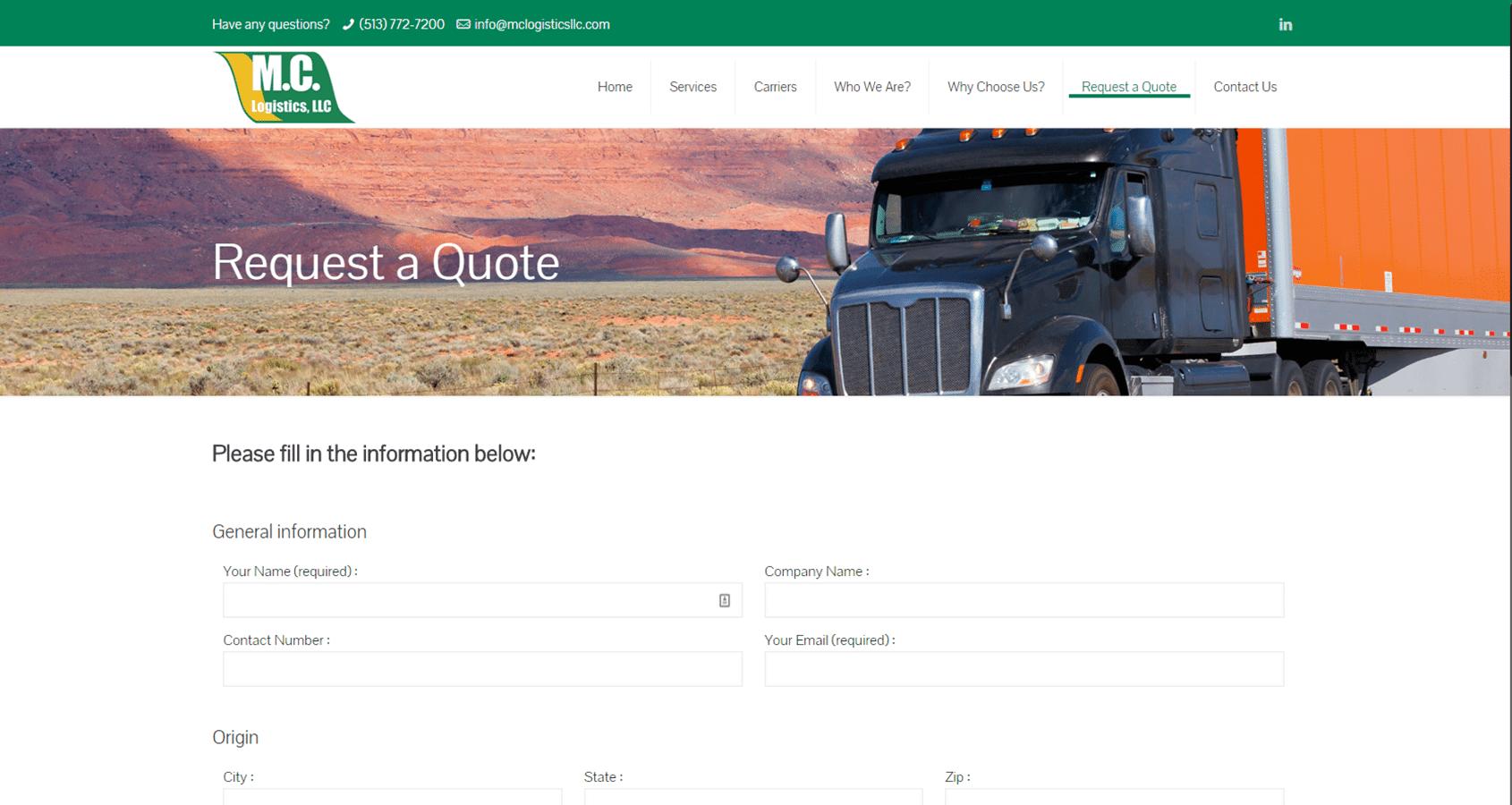 MC Logistics Website Screencap 3