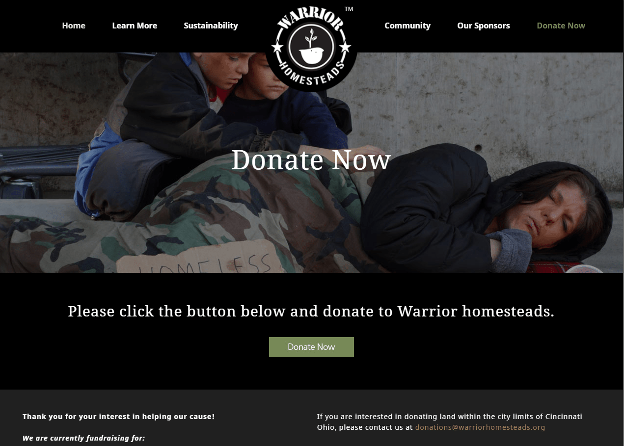 Warrior Homesteads' invitation to donate