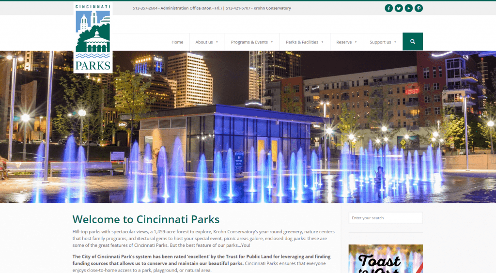 cincinnati parks website