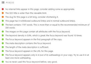 Yoast Focus Keyword Analysis Example