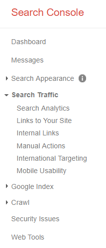 Search Console Left Navigation