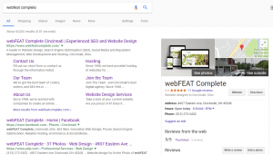 webFEAT Complete's Branded Search Results