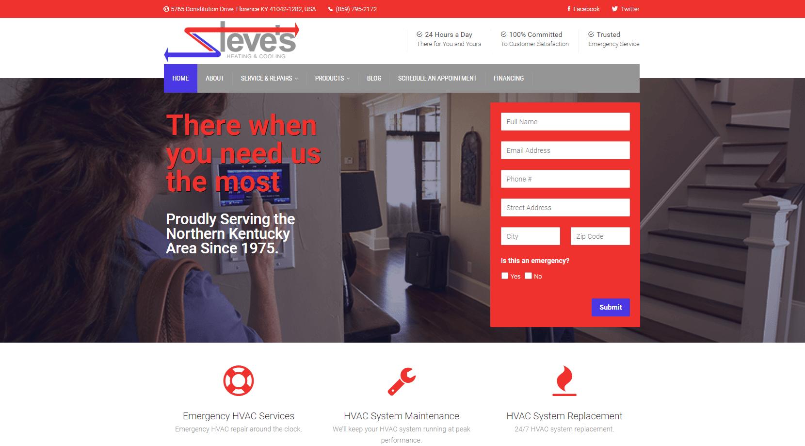 Steve's Heating new website
