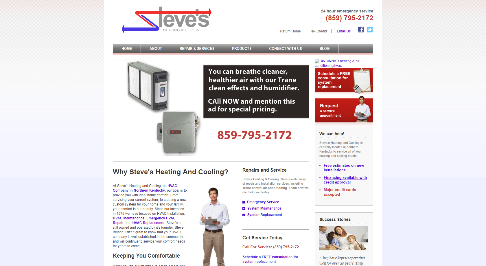 Steve's Heating old website