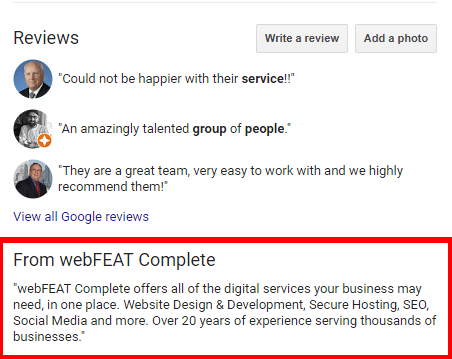 Google Business Listing About Us