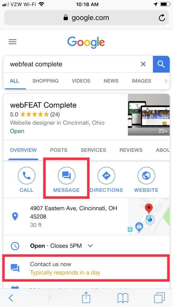 Google Business Listing Messaging
