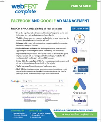 Facebook and Google Ad Management Sales Sheet