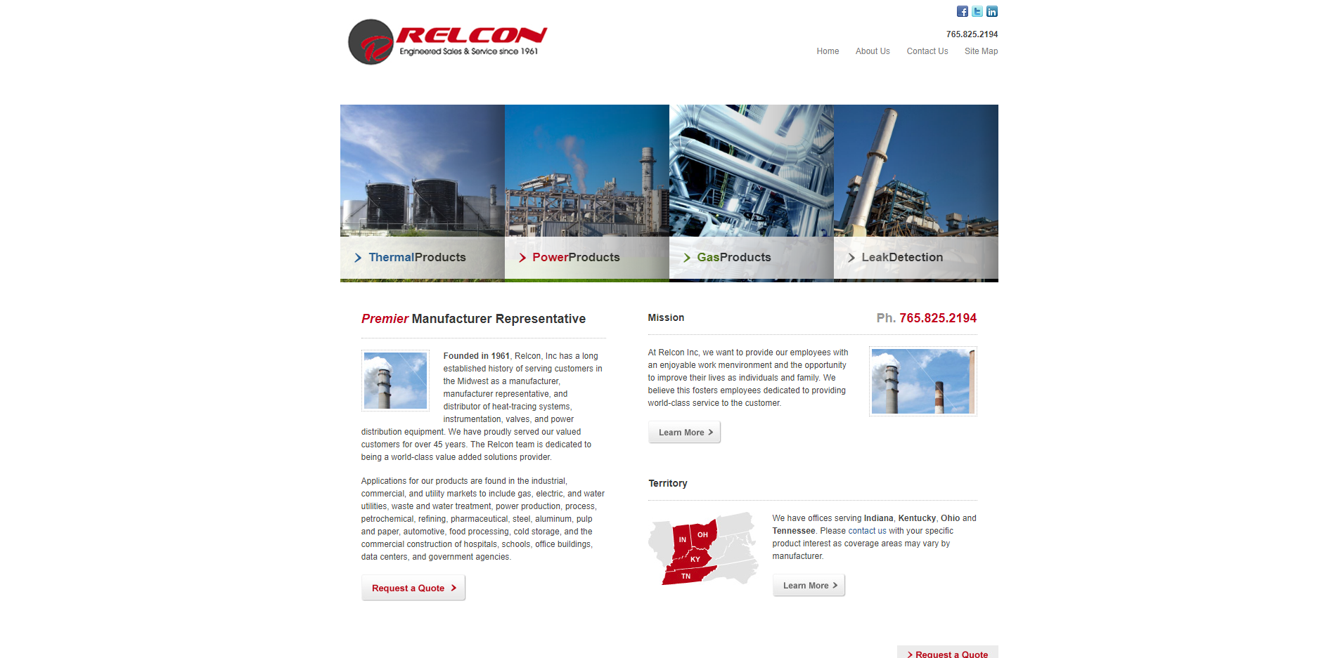 Relcon Website Before