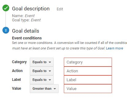 Event Goal Tracking in GA