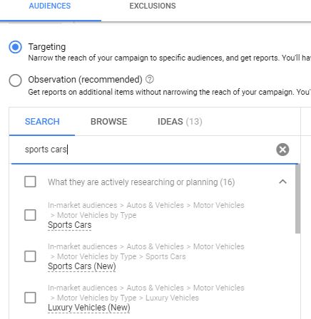Google Ads Audiences Example-Cars