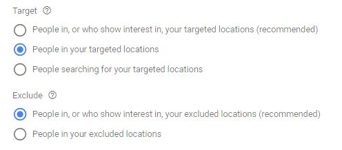 Google Ads Location Target Settings