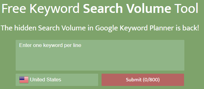 Free SEO Tool SearchVolume