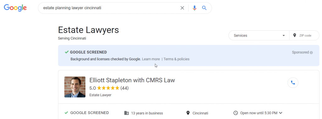 Google Screened Example