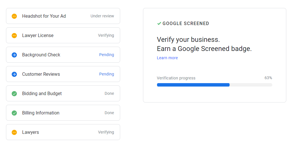 Google Screened Verification Steps