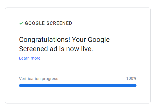 Google Screened Verification Completed