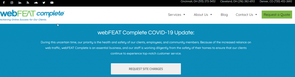 Example of COVID-19 Notice on Website