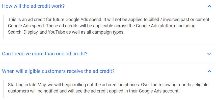 Google Ads Small-Med Biz COVID-19 Ad Credit Info