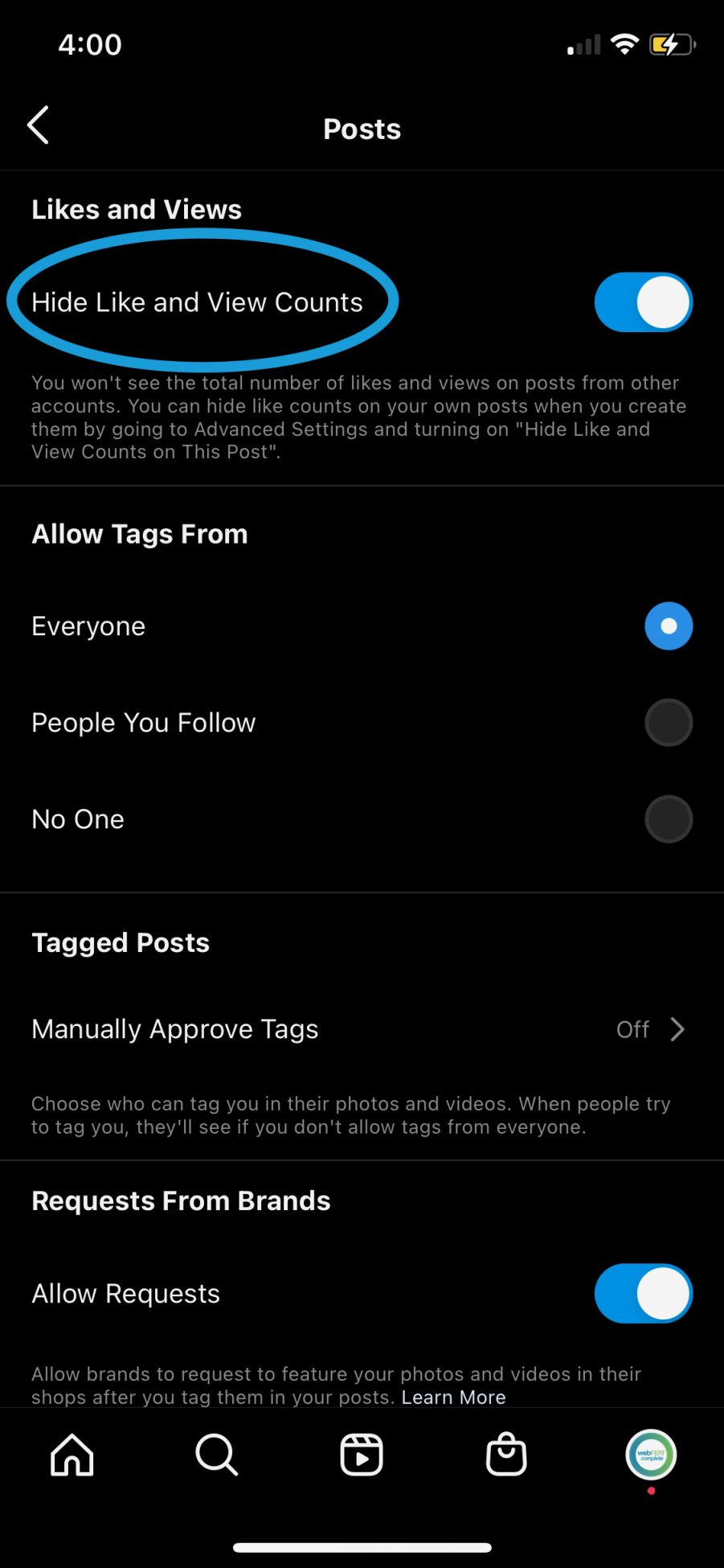 How to hide others like counts on instagram step 3 with the option to hide like count circled