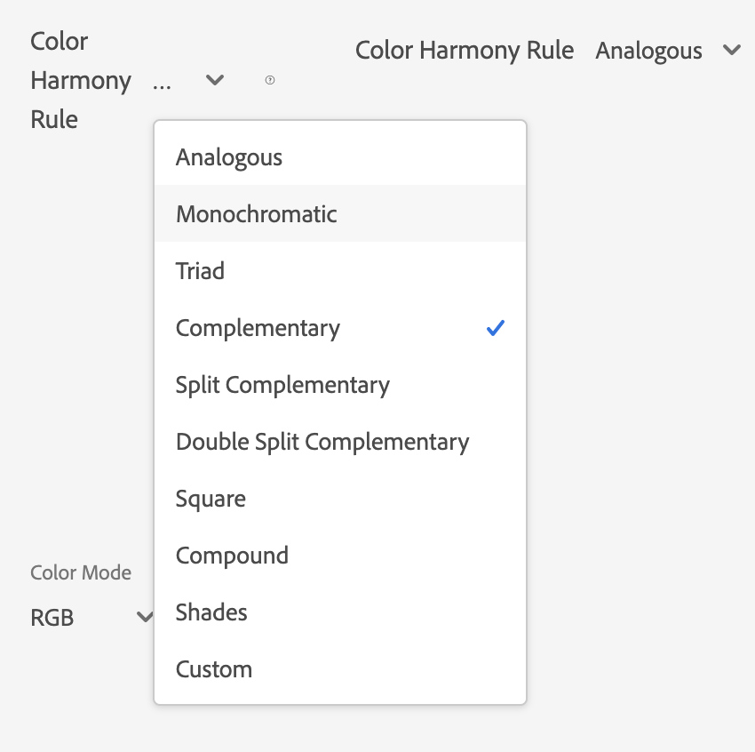 Options of color combinations in adobe color
