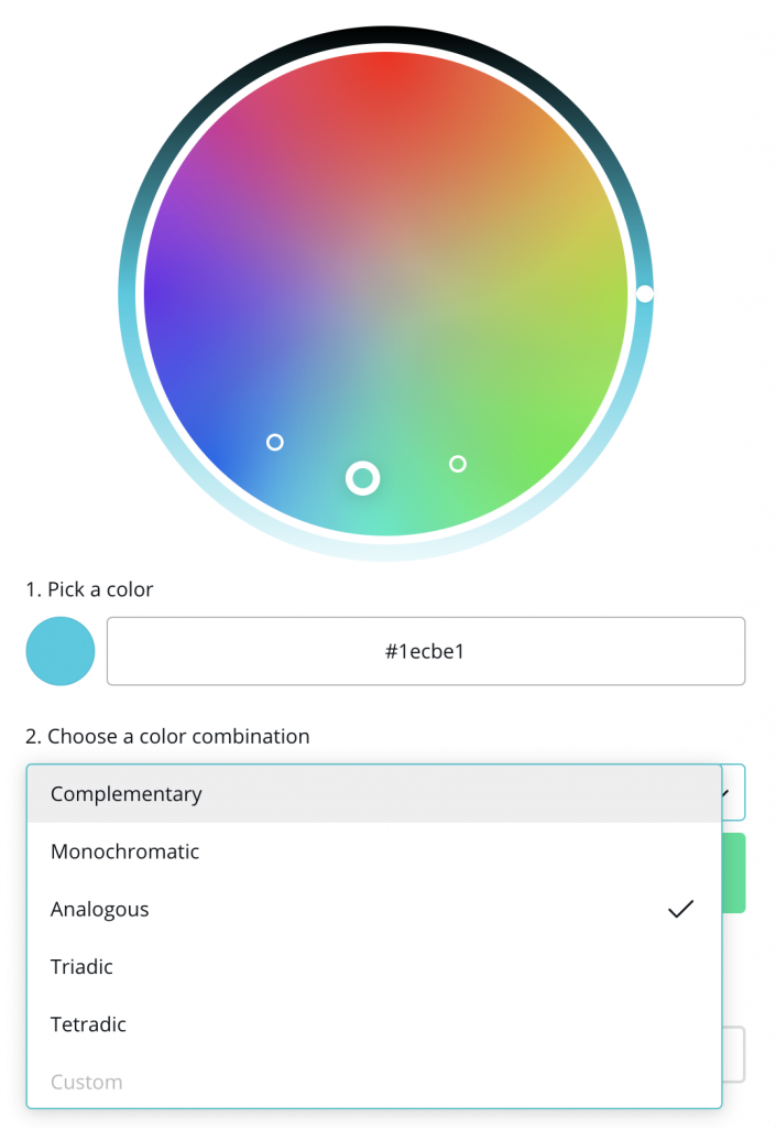Color combination selection options in canva