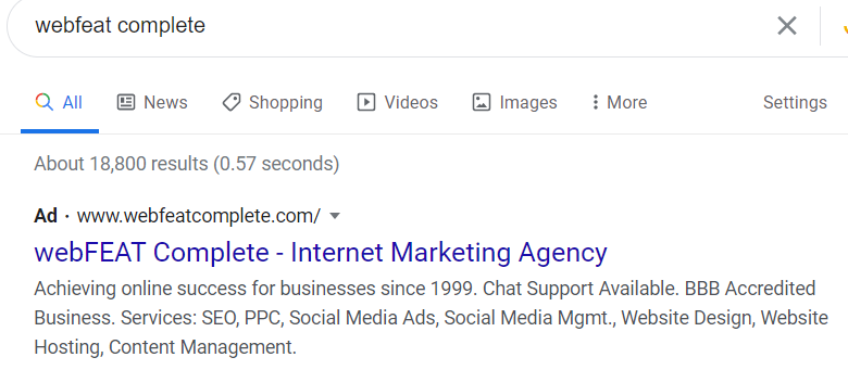 Branded search ad