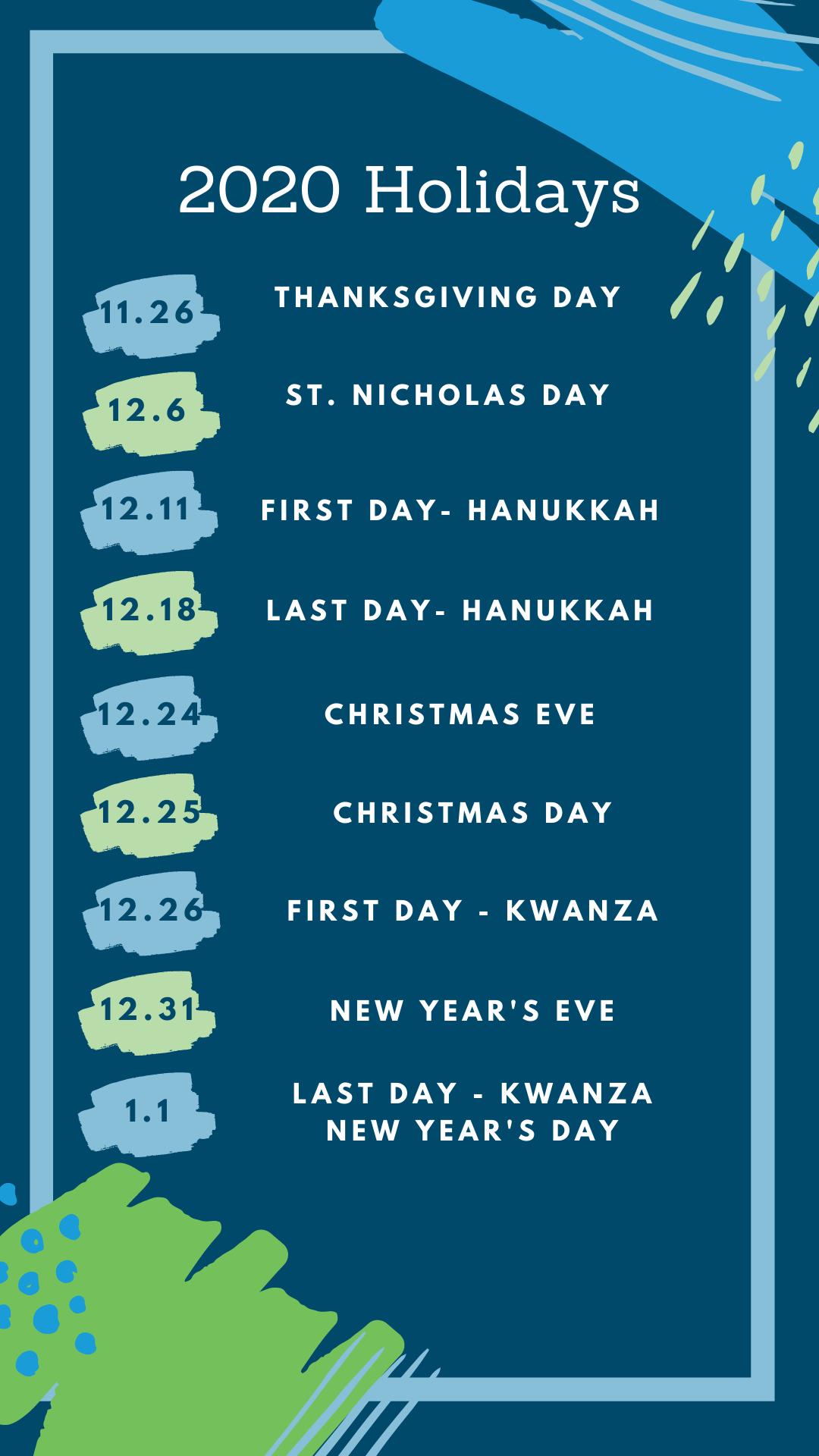 2020 holidays schedule