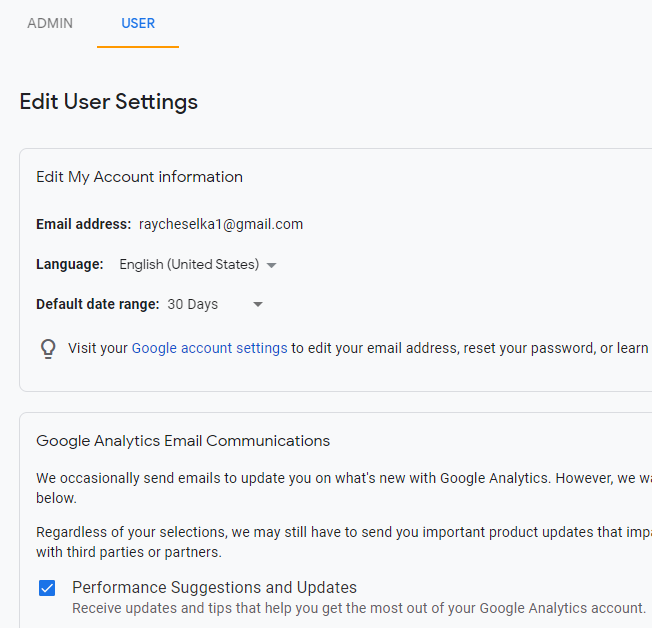 Google Analytics Admin User Settings Tab