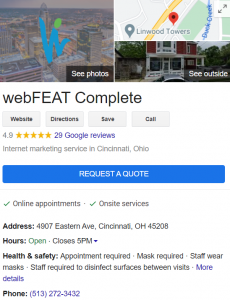 Google Business Listing for webFEAT Complete